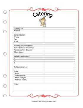 The Wedding Planner Catering worksheet helps you make sure everybody is fed. Free to download and print