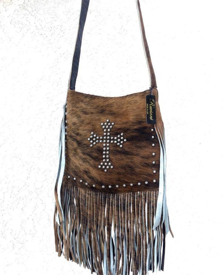 Raviani Western Hair on Hide Leather Cross Body Handbag Purse w Fringe Cross | eBay