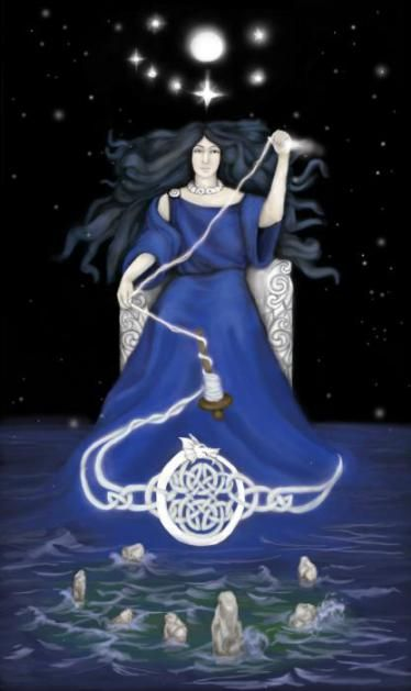 Arianrhod's themes are the arts, magic, manifestation and rebirth. Her symbol is a silver wheel (spinning tools i.e. shuttle, yarn).  In Welsh tradition, this is the Goddess of the 'silver wheel' upon which magic is braided and bound together into a tapestry of manifestation. Stories tell us that Arianrhod abides in a star where souls wait for rebirth (the wheel here becomes the wheel of life, death, and rebirth).