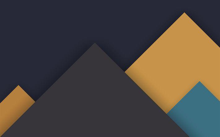 Lataa kuva kolmion abstraktio, materiaali suunnittelu, vuoret, kolmiot