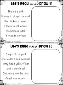 Read and color, Read and draw activities. These activities will motivate your students to read and follow directions carefully. Use this as a listening comprehension activities for your kindergarten students, or have your first graders read the passages.
