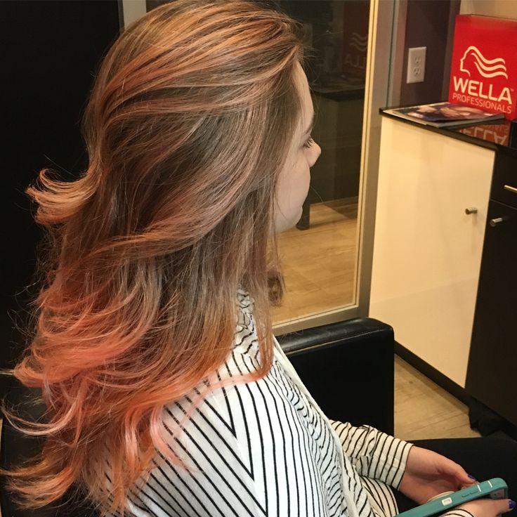 Peach/coral balayage hair