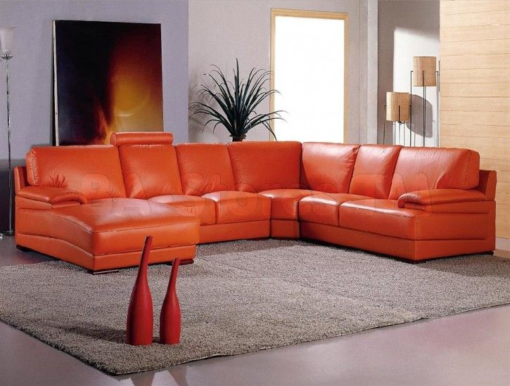 4087   Orange And Off White Bonded Leather Sectional Sofa   Vig Furniture  White And Orange Leather Sectional Sofa With Headrests   Vig Furniture Vg