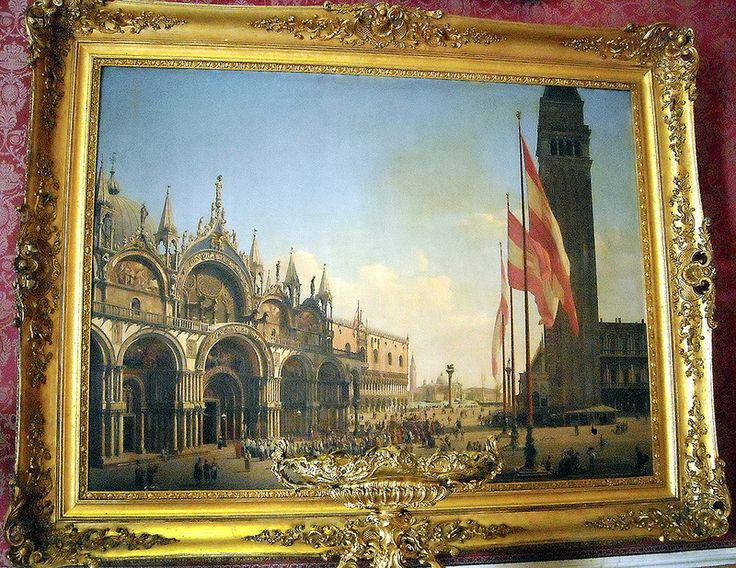 """""""Saint Mark's Square at Venice"""" - oil on canvas signed and dated 1837 by Franz Vervloet (Malines 1795-Venice 1872) - Naples Royal Palace"""