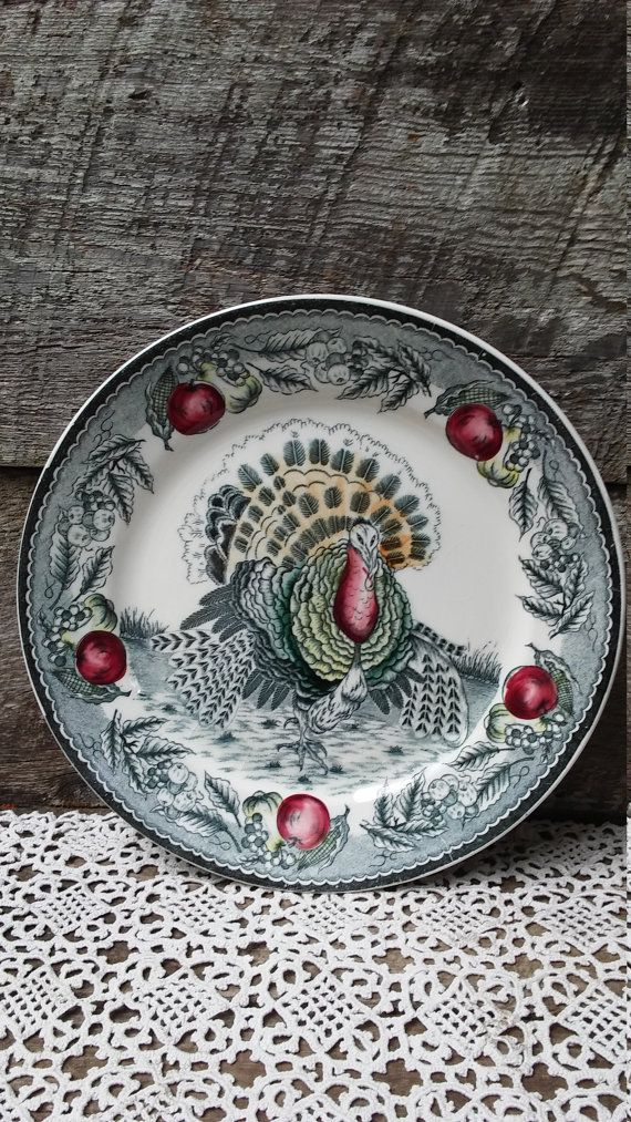 Turkey Dinner Plate 10 Green Apples by CottonCreekCottage on Etsy