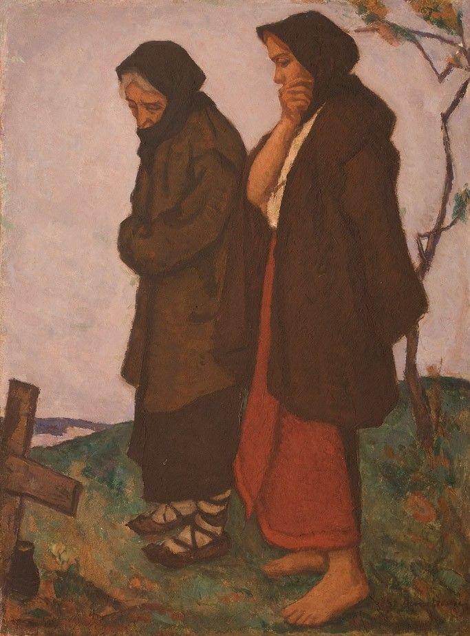 Ștefan Dimitrescu, O cruce pe deal - ulei pe carton, 64 × 49,5 cm, semnat dreapta jos cu negru, St. Dimitrescu
