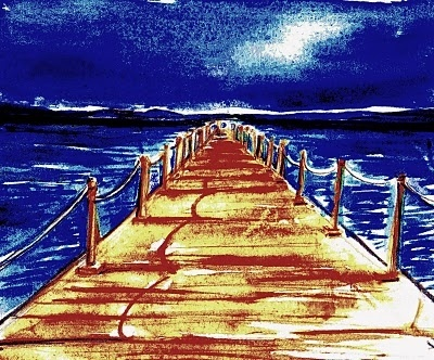 """""""Il pontile sull'orizzonte"""".    Il pontile si allungava sul mare, starsene lì senza far niente era come scivolare sul tempo. I pescatori se n'erano andati, qualche lento gabbiano incrociava poco distante in una bava di vento da ponente. Anche la nave non c'era più all'orizzonte, ormai da un giorno o anche due, ma aveva impresso così forte la sua presenza in quella zona di mare, che ora pareva che una nebbiolina leggera.... (di Bruno Magnolfi - illustrazione di Giulia Tesoro)."""