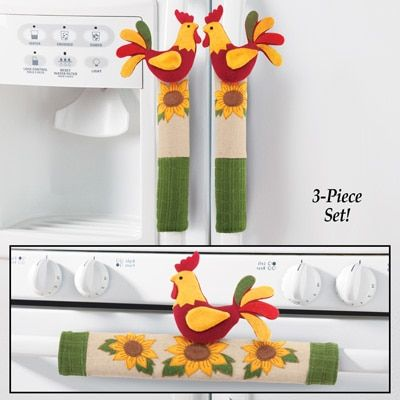 Rooster and Sunflower Appliance Handle Covers