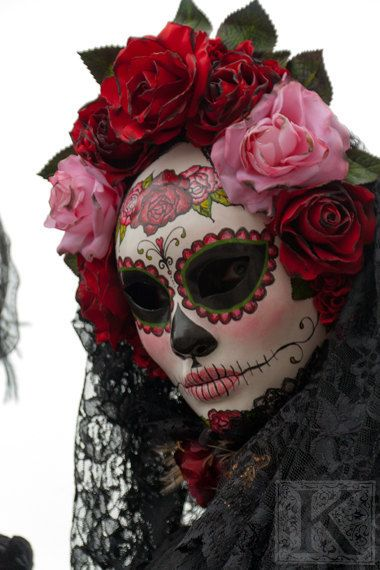 Day of the dead - Signed photo 8 x 12 - BOGO sale - Carnival of Venice mask costume red black masquerade mystery pink gothic. $30,00, via Etsy.