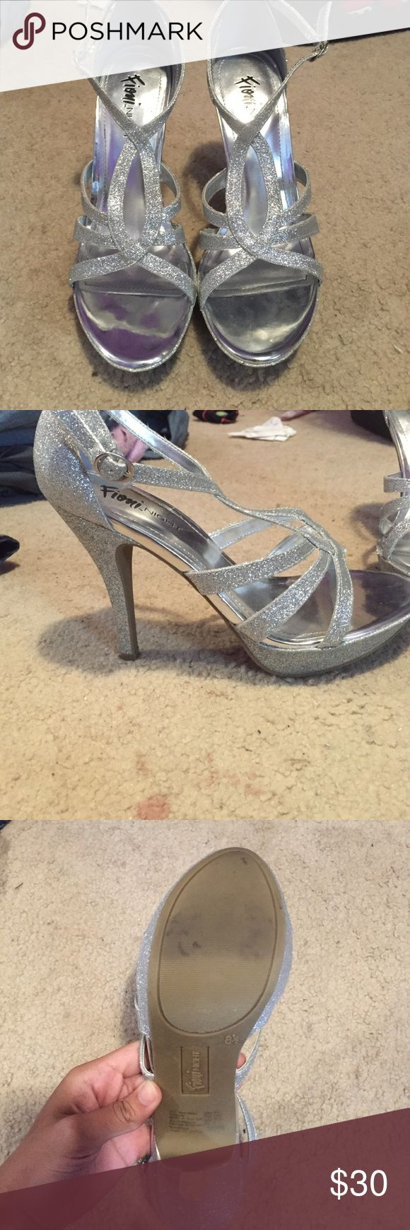 Silver Sparkly Heels worn once for prom size 8 in a half FIONI Clothing Shoes Heels