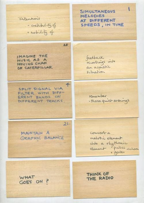 The original hand-written Oblique Strategies by Brian Eno and Peter Schmidt, 1974