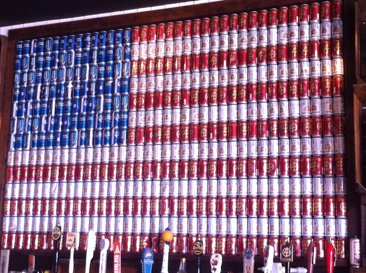 Beer Can American Flag at the Rustic