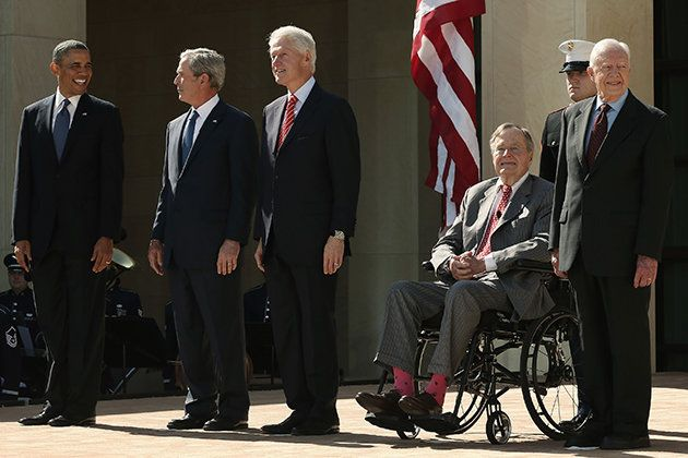 Five Presidents mark the opening of the George W. Bush library.  April 2013 via Yahoo! News