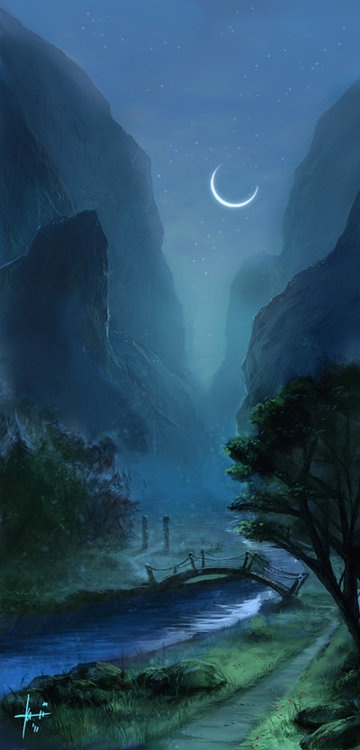 crescent moon: Crescent Moons, Beautiful Scene, Moon, Night Scene, Blue, Magical Places, Moon River, Moon Sees, Moonlight