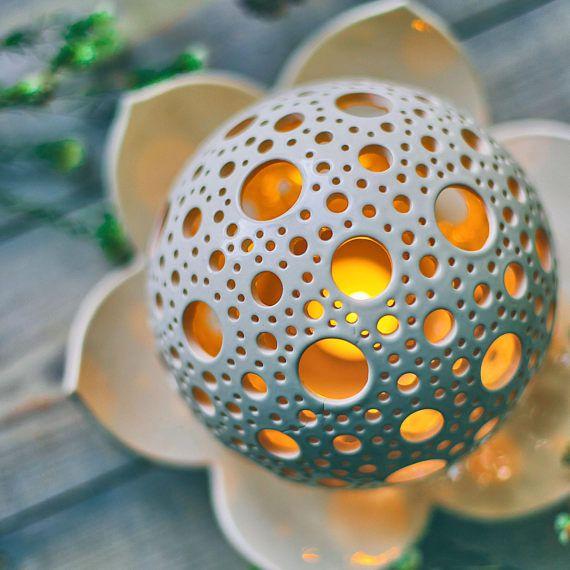 Lotus Candle Holder Marriage ceremony Desk Centerpiece Ceramic Lantern Lotus Flower Decor Yoga Meditation Candle Tealight Holder ninth Anniversary Gif