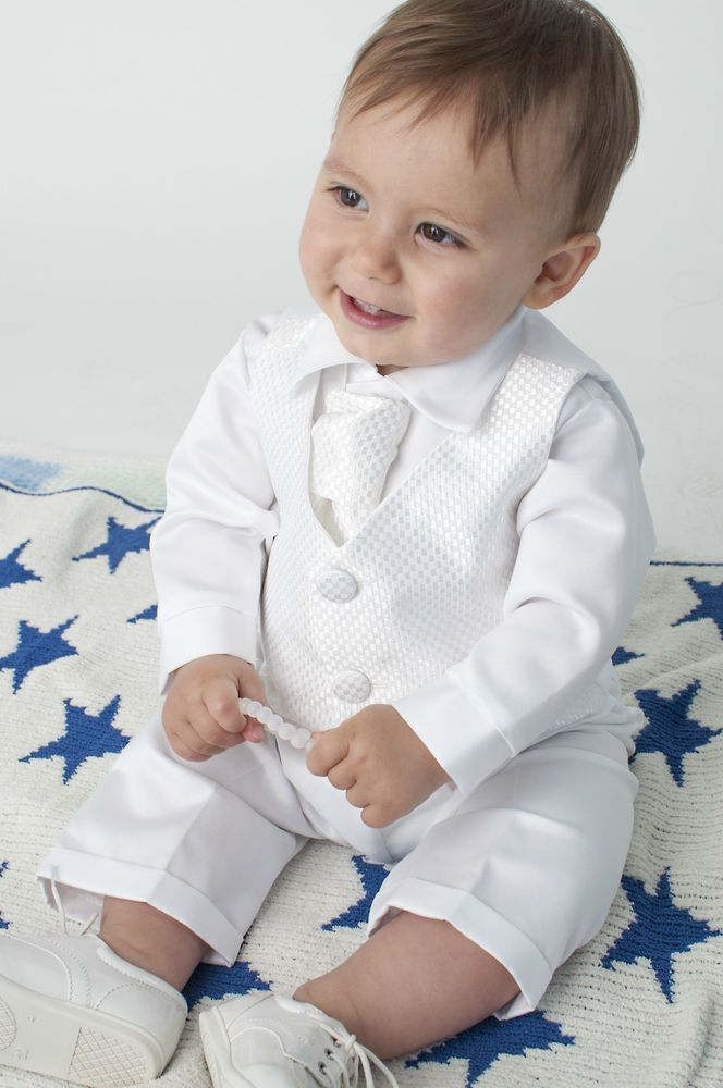 Baby Boys 4 Piece Christening Outfit / Christening Suit White Check #Vivaki #ChristeningSuit