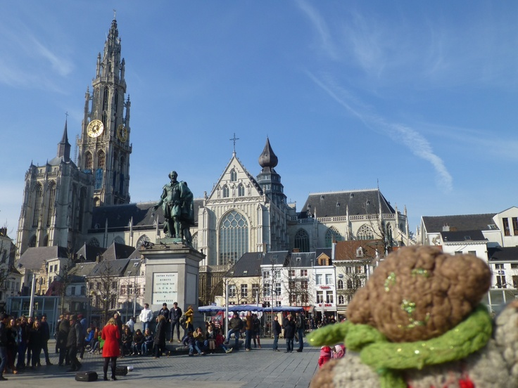 Mini Bear in Groenplaats, the central square in Antwerp, Belgium on a cold March day, 2013.