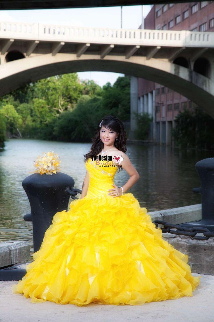 2017 New Beaded Sweet 15 Ball Gown Yellow Satin Organza Prom Dress Gown Vestidos De 15 Anos