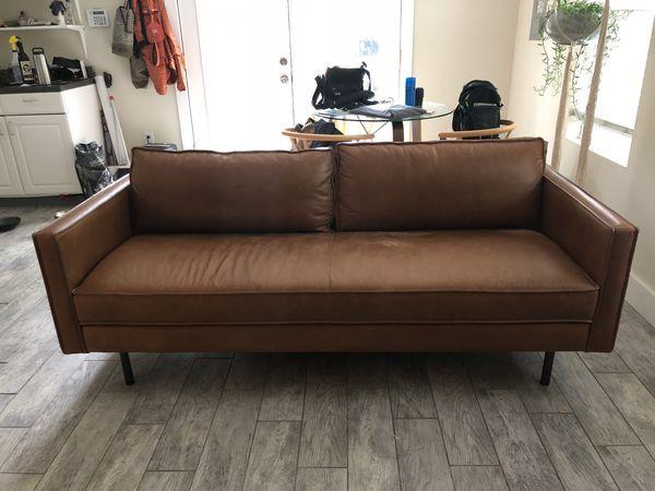 West Elm Axel Leather Sofa 76