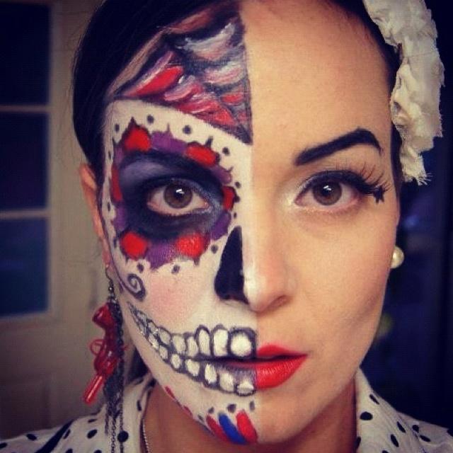 halloween face paint sugar skullpin up girl - Female Halloween Face Painting