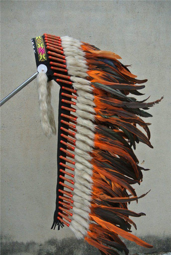 36 Inch Orange Feather Headdress //Price: $157.50 & FREE Shipping //     #trance
