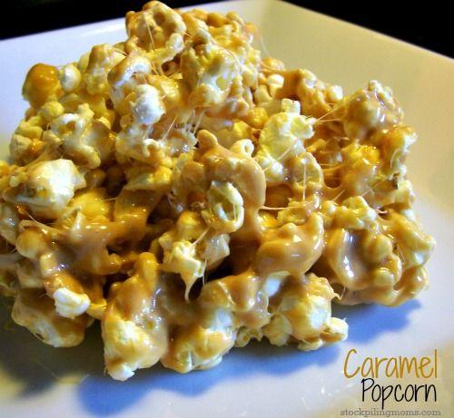 Caramel Marshmallow Popcorn http://www.stockpilingmoms.com/2012/12/caramel-marshmallow-popcorn/