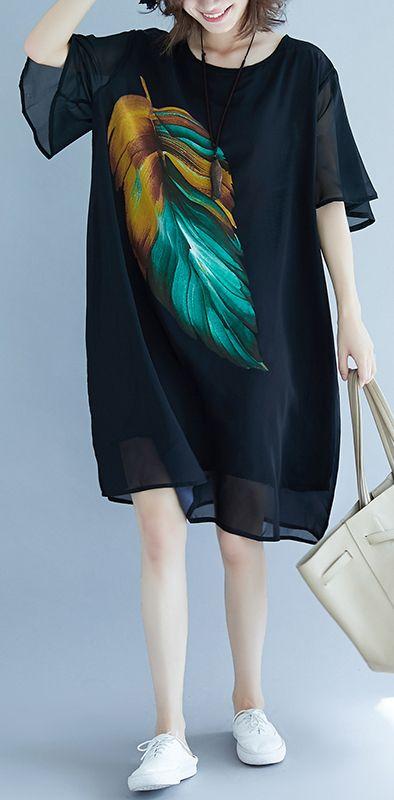 86f790391b0 2018 black beach dress o neck short sleeve floor length dress baggy dresses  summer dress in 2018