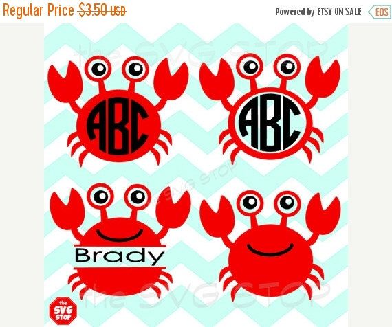 ON SALE Crab designs and monogram bases SVG and studio files for Cricut, Silhouette, Vinyl Cutters and Screen Printing by SVGstop on Etsy https://www.etsy.com/listing/233265951/on-sale-crab-designs-and-monogram-bases