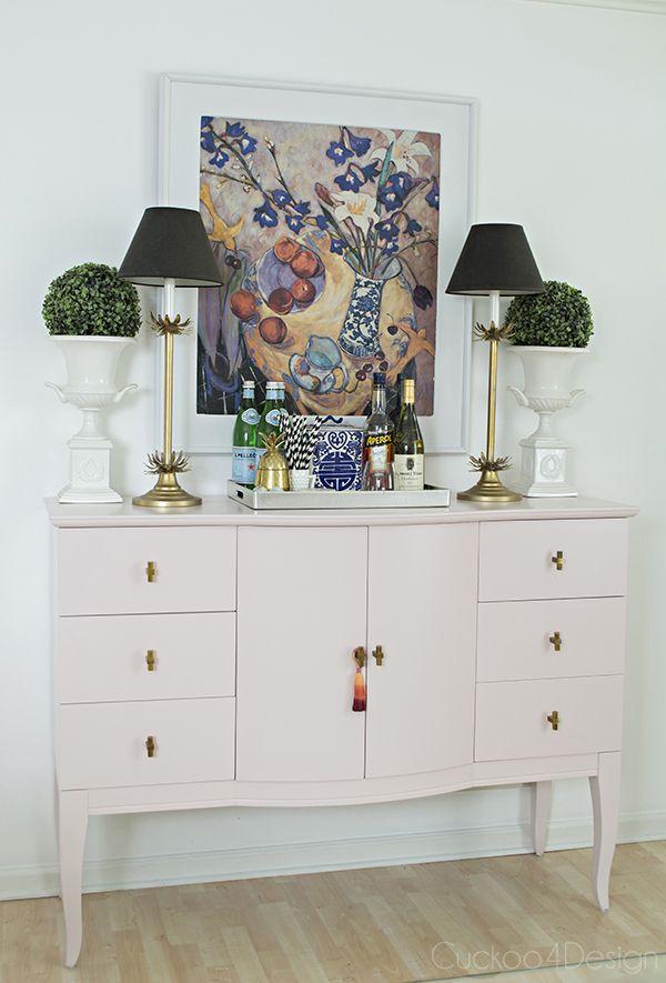 Pale Pink Dining Room Sideboard Makeover