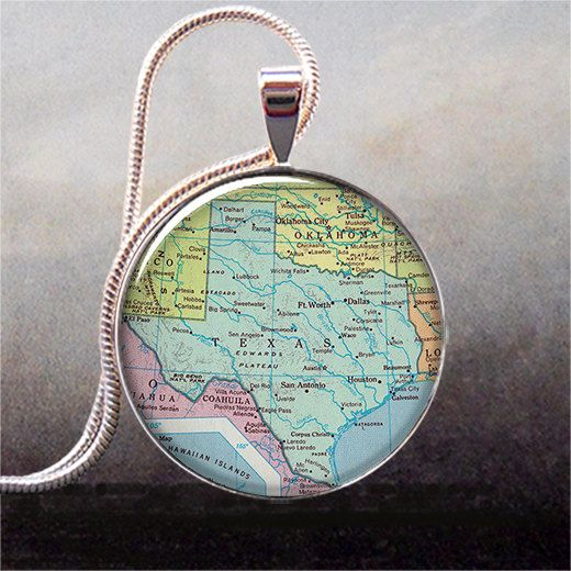 Texas map pendant Texas state map jewelry by thependantemporium, $9.25