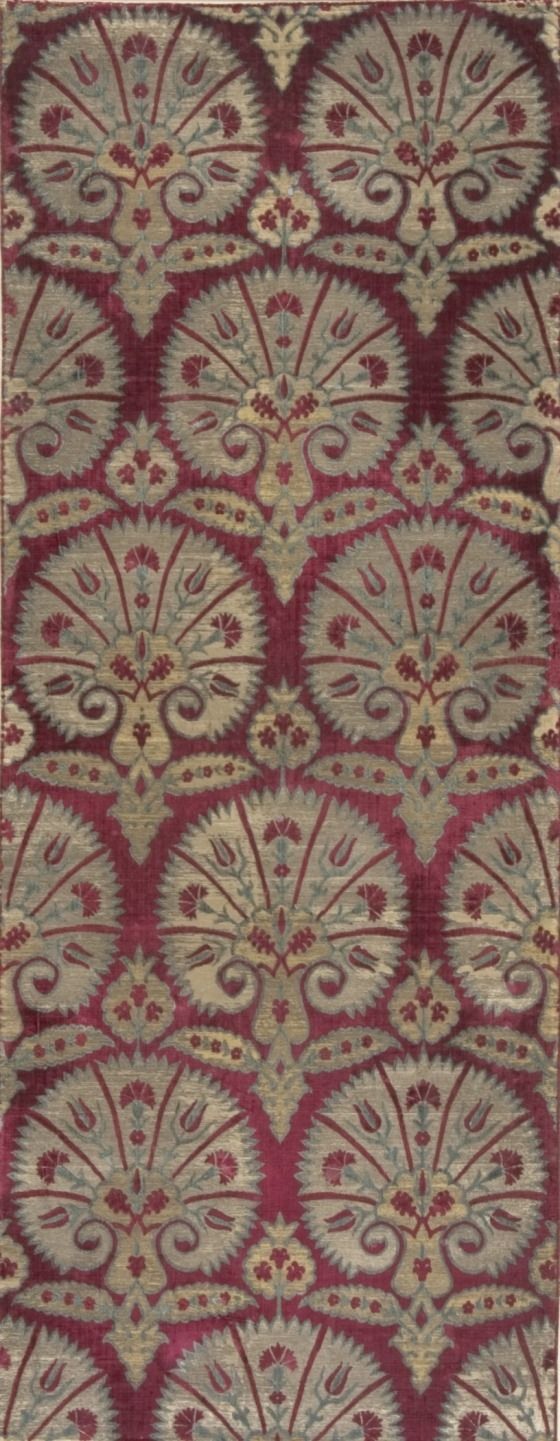 Ottoman Textile with Stylized Carnations, Turkish, second half 16th century (cut and voided silk velvet on metallic ground)