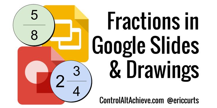 How to add fractions to Google Slides and Drawings, with directions and a template to copy.