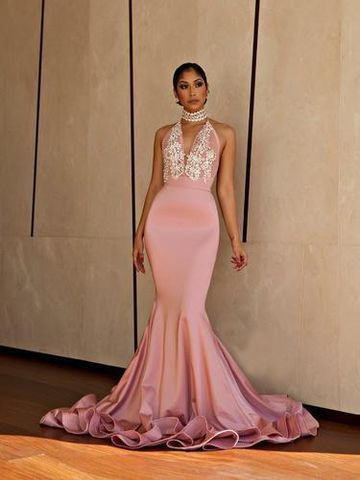 c3976421165 49%OFF Elegant Formal Pink Trumpet Mermaid Sleeveless Beading Prom Dresses  2019 Court Train – lolipromdress.com