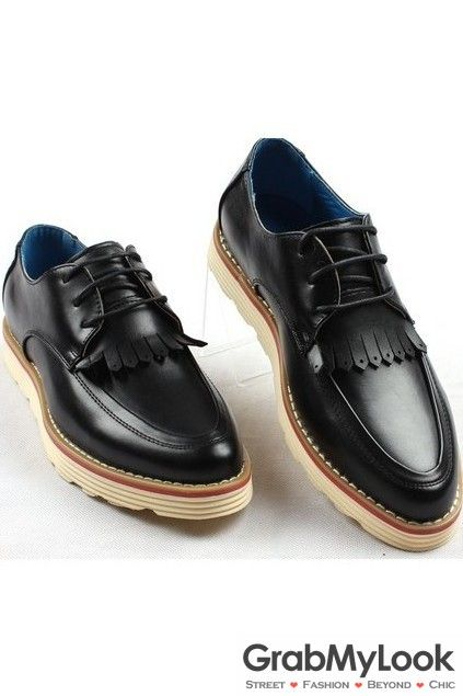 GrabMyLook Black Leather Tassels Lace Up Vintage Platformn Point Head Mens Loafers Shoes Sneakers