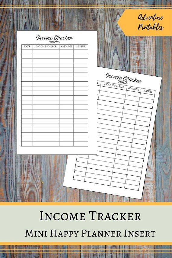 "Income Tracker for the Mini Happy Planner, Passive Income Tracker, Money Log, Peycheck Tracker, Wealth Building Printable Planner Insert  ▶WHAT IS INCLUDED  Income Tracker Insert design - 1 PDF File Income Tracker Insert design - 2 JPG files Income Tracker Insert for printing on A4 - 1 PDF File Income Tracker Insert for printing - 1 JPG File Income Tracker Insert for printing on Letter Size - 1 PDF File  ▶ SIZE:  Mini Happy Planner: The design 4.5"" x 7"" (11.4 x 17.75 cm) For printing: A4 and…"