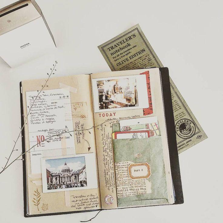 """blattscherepapier on Instagram: """"Mein Travel-Journal bekommt immer mehr vollgepackte Seiten meiner tollen Memories aus Rom . #travelersnotebook #travelerscompany #mtn…"""""""