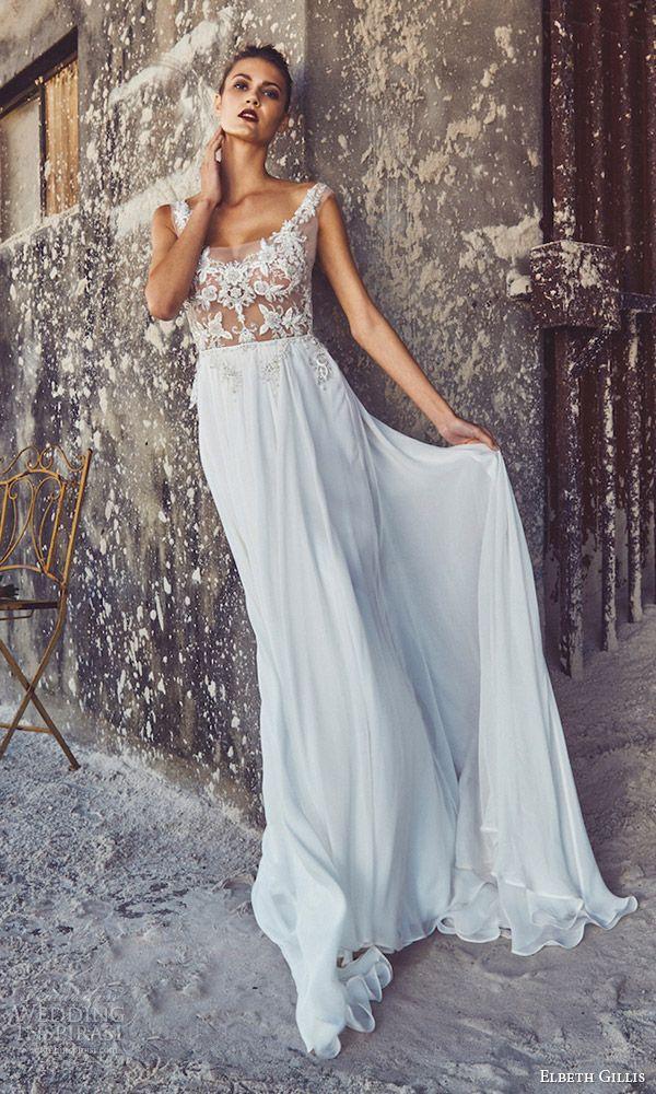 elbeth gillis bridal 2017 cap sleeves illusion bodice scoop neck aline wedding dress (louise) mv