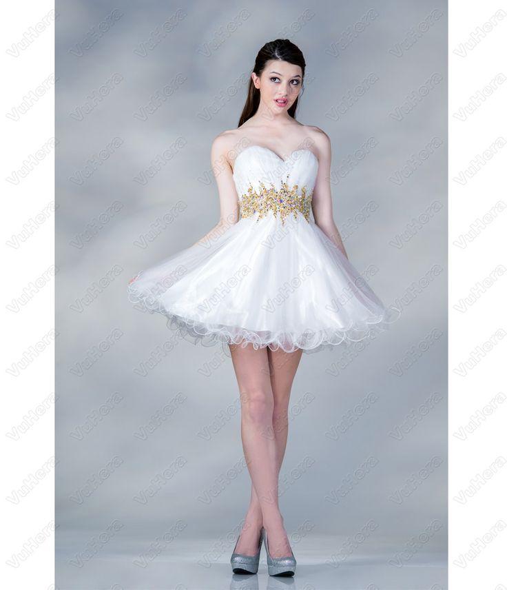 White & Gold Chiffon Sweetheart Short Prom Dress