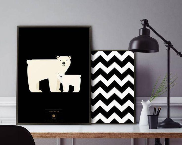 polar bear nursery poster/polar bear print/baby bear illustration/chevron print/Nursery Decor/zigzag wall art/kids decor/Scandinavian prints by BeautyOfPrints on Etsy