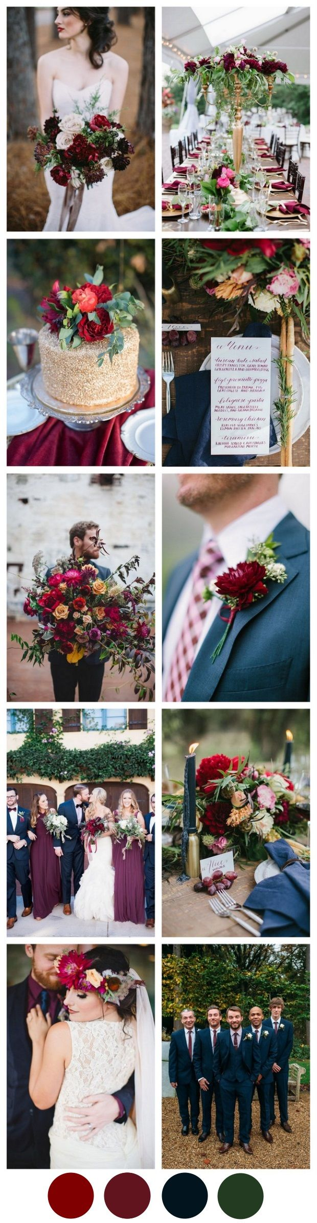 We're not finished with summer quite yet, but that doesn't mean we can't have a little peek at autumn weddings! Let's start with a romantic, elegant inspiration palette of marsala and navy!