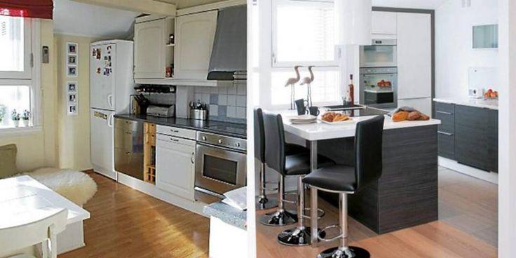 FØR OG ETTER: Oppussingen av kjøkkenet førte til radikale endringer.