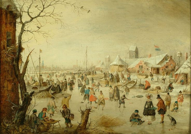 Winterlandschap met schaatsenrijders, Hendrick Avercamp, circa 1630 | Museum Boijmans Van Beuningen