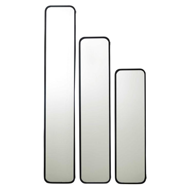 3 spiegels met metalen lijst, zwart, DEVON   Maisons du Monde