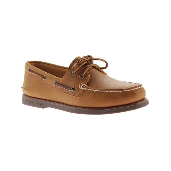 Men's Sperry Top-Sider Gold A/O 2-Eye Moc Toe Boat Shoe (705 MXN) ❤ liked on Polyvore featuring men's fashion, men's shoes, men's loafers, blue, long sleeve shirts, mens gold shoes, mens shoes, mens sperry topsiders, mens topsiders and mens deck shoes