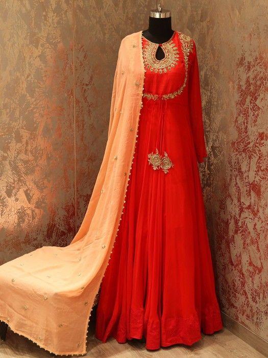Shop Red Peach Designer Floor Length Salwar Suit G3+ Video Shopping