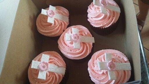 Pink girl christening cupcakes