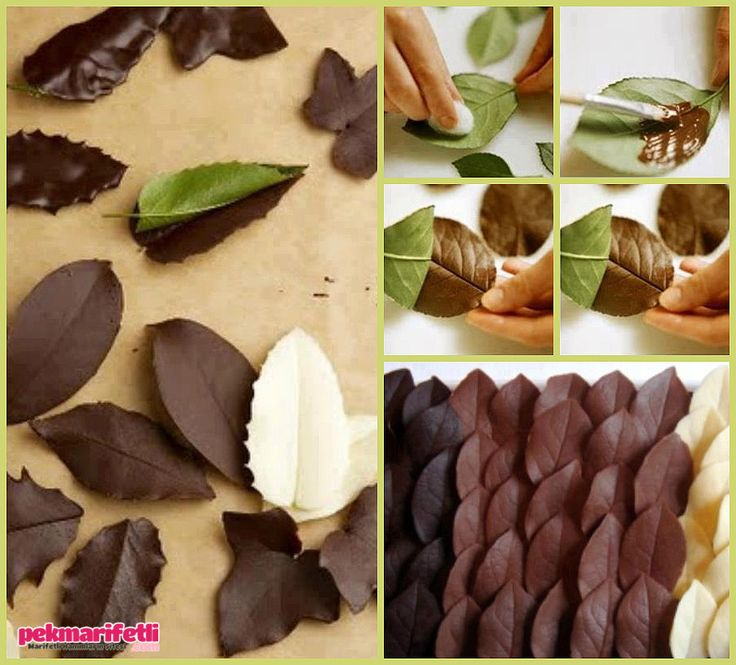 Pastanın üzerine yaprak çikolata yapımı