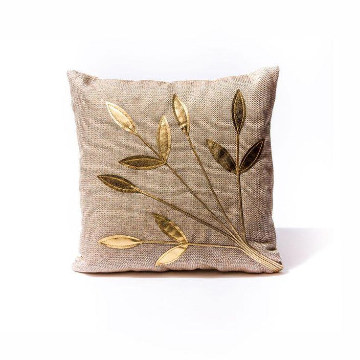 Beige Golden Leaf Pillow