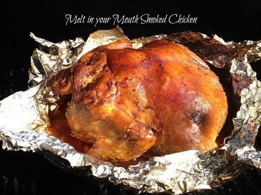 ★★★ Melt in your Mouth Smoked Chicken ★★★   1 (4- to 5-pound) whole chicken, neck and giblets removed from the cavity  Allegro Original Marinade  Stubbs Signature BBQ sauce   Carefully rinse chicken with cold water and pat dry with a paper towel.    Wrap Chicken in Heavy Duty Foil leaving the top open; then pour equal parts of the Allegro Marinade and Stubbs BBQ Sauce over outside and inside of chicken. Next, cover the top with foil and seal it tight. Put in refrigerator over night.   Heat…