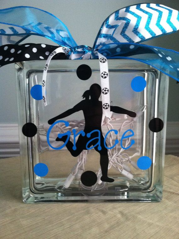Personalized Soccer Glass Block Light by LuLuBeanDesignCo on Etsy, $24.99